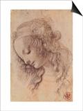 Testa di Giovinetta Poster by  Leonardo da Vinci