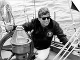 Vintage Photo of President John F. Kennedy Sailing Aboard His Yacht Posters