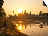 Tourist Watching Sunrise at Angkor Wat Temple, UNESCO World Heritage Site, Siem Reap, Cambodia Prints by Matthew Williams-Ellis
