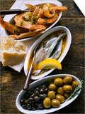 Marinated Sardines, Fried Scampi and Olives Poster