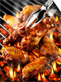 Chicken Wings on Barbecue Rack Posters by Paul Williams