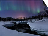 Aurora Borealis over Blafjellelva River in Troms County, Norway Posters by  Stocktrek Images