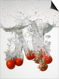 Tomatoes Falling into Water Print by  Kröger & Gross