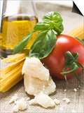 Tomato with Spaghetti, Parmesan, Basil and Olive Oil Posters