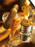 A Glass of Brandy a Decanter and a Cigar Posters