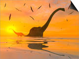 Diplodocus Dinosaurs Bathe in a Large Body of Water Prints by  Stocktrek Images