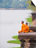 Buddhist Monks Sitting at Angkor Wat Temple, Angkor, UNESCO World Heritage Site, Cambodia Prints by Matthew Williams-Ellis