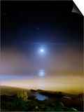 Moonset Over the Sea with Pleiades Cluster Posters by  Stocktrek Images
