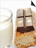 A Piece of Chocolate, Baguette and a Glass of Milk Prints by Alain Caste
