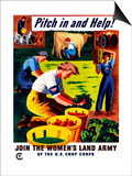 World War II Propaganda Poster of Women Doing Chores on a Farm Prints