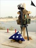 Fallen Soldier's Gear, Camp Baharia, Iraq, June 12, 2007 Prints by  Stocktrek Images