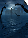 Dinosaurs Feed Near the Shores of the Famed Lost City of Atlantis Posters by  Stocktrek Images