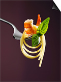 Spaghetti with Shrimp and Basil on a Fork Posters by Kai Stiepel