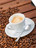 Cup of Espresso and Coffee Beans Prints by Chris Schäfer