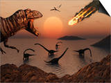 A Mighty T. Rex Roars from Overhead as a Giant Fireball Falls from the Sky Print by  Stocktrek Images