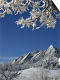 Winterscene of the Flatirons in Boulder, Colorado Poster by Dörte Pietron