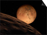 Mars Seen from its Outer Moon, Deimos Art by  Stocktrek Images
