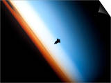 Silhouette of Space Shuttle Endeavour over Earth's Colorful Horizon Prints
