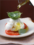 Drizzling Insalata Caprese with Olive Oil Print
