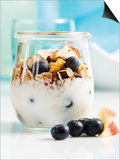 Yoghurt with Muesli, Blueberries, Apple and Dried Fruit Prints by Dieter Heinemann