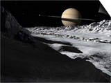 Saturn's Moon, Tethys, Is Split by an Enormous Valley Called Ithaca Chasma Posters by  Stocktrek Images