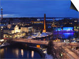 River Tammerkoski Runs Through City Centre, Past Finlayson Complex, Night Time in Tampere, Finland Posters by Stuart Forster