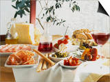 A Table Laid with Antipasti and Red Wine Prints by Ulrike Koeb