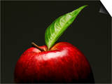 A Red Apple with Leaf Print by Gustavo Andrade