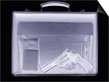 Handgun In Briefcase, Simulated X-ray Art by Mark Sykes