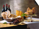 Assorted Types of Cheese with Bread, Red Wine Prints