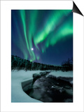 Aurora Borealis over Blafjellelva River in Troms County, Norway Poster by  Stocktrek Images
