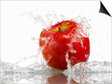 Red Apple with Splashing Water Prints by Michael Löffler
