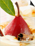 Pear in Red Wine with Cinnamon in Madeira Cream Prints