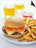 Cheeseburger And Chips Poster by David Munns