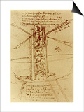 Drawing of a Flying Machine Prints by  Leonardo da Vinci