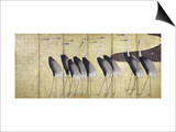 Cranes, Japanese Edo Screen Painting Print by Ogata Korin