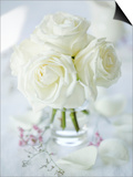 A Bunch of White Roses in a Glass Vase Art by Ira Leoni