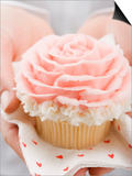 Hands Holding Cupcake with Marzipan Rose Posters