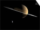 Artist's Concept of Saturn and its Moons Dione and Tethys Posters by  Stocktrek Images
