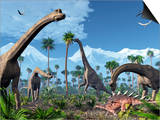 Brachiosaurus Dinosaurs, Artwork Poster by Roger Harris