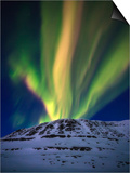 Aurora Borealis over Toviktinden Mountain in Troms County, Norway Print by  Stocktrek Images