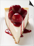 A Piece of Cheesecake with Cherry Sauce Poster