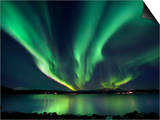 Aurora Borealis over Tjeldsundet in Troms County, Norway Prints by  Stocktrek Images