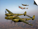 Three Lockheed P-38 Lightnings in Flight Prints by  Stocktrek Images