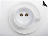 A Coffee Cup with Two Coffee Beans Making a Smiley Face Posters by Jean Gillis