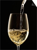 White Wine Pouring from Bottle into Glass Posters by John Hay