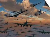 B-17 Flying Fortress Bombers and P-51 Mustangs in Flight Poster by  Stocktrek Images