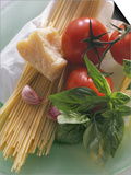 Still Life with Spaghetti, Tomatoes, Basil & Parmesan Art