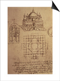 Sketch of a Square Church with Central Dome and Minaret Posters by  Leonardo da Vinci