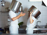 Two Chefs Having Discussion with Large Pans on their Heads Prints by Robert Kneschke